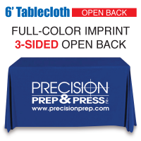 6' Tablecloth FULL-COLOR Open Back