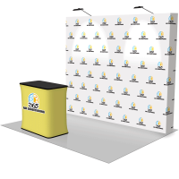 10' Straight Pop Up Fabric Display & Hard Case Podium
