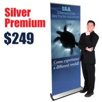 Silver Premium Pop-Up Banner Stand
