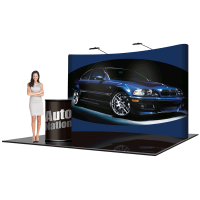 10' Pop Up Show Display Curved & Hard Case Podium