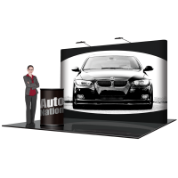 10' Pop Up Show Display Straight & Hard Case Podium