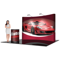 8' Pop Up Show Display Curved & Hard Case Podium