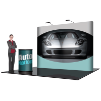 8' Pop Up Show Display Straight & Hard Case Podium