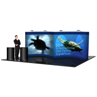 22' Pop Up Show Display GULL WING & Hard Case Podiums